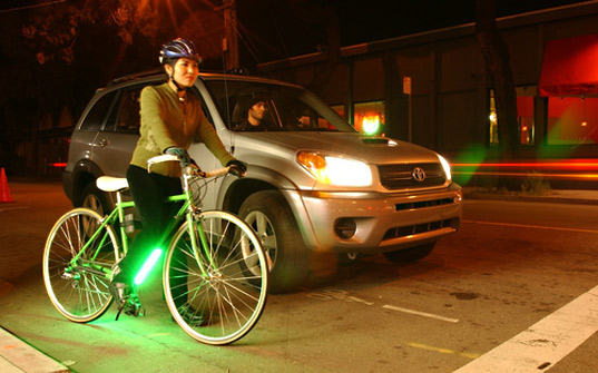 bike with green leds