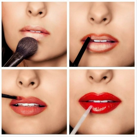 Red lips step by step